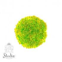 Бисер китайский желтый прозрачный с зеленой серединкой №112/807, 20 г
