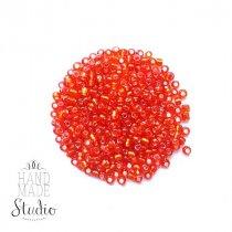 Бисер китайский ярко-оранжевый прозрачный с блестящей серединкой №25, 20 г