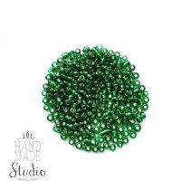 Бисер китайский бутылочный зеленый прозрачный с блестящей серединкой №53А, 20 г