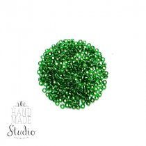 Бисер китайский зеленый прозрачный с блестящей серединкой №27В, 20 г