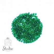 Бисер китайский бутылочный зеленый прозрачный  №7В, 20 г