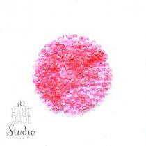 Бисер китайский прозрачный с розовой серединкой №101/815, 20 г