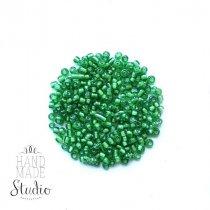 Бисер китайский зеленый прозрачный с белой серединкой №107/801, 20 г