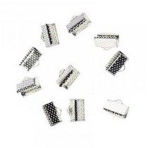 Зажимы для лент 6 мм, цвет - серебро, 10шт