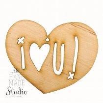 Деревянная заготовка Сердце I♥U, 18,2х15 см