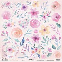 """Лист односторонней бумаги 30,5x30,5 """"Цветы"""" из коллекции Gentle Morning,  190г/м2, 1 лист"""