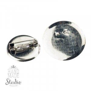 Основа для брошки  круглая 3 см, цвет - сталь, 1шт