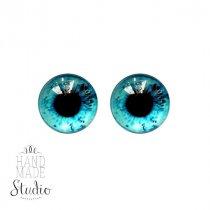 Глазки стеклянные для кукол №77128 (пара), 10 мм, цвет морской волны