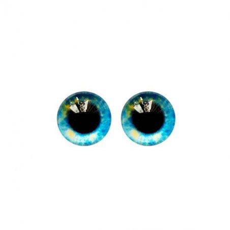 Глазки стеклянные для кукол №77132 (пара), 8 мм, цвет желто-голубой