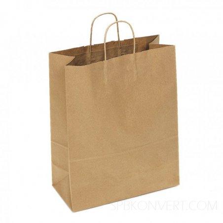 Бумажный пакет из крафт-бумаги с витыми бумажными ручками, 32х38х15 см