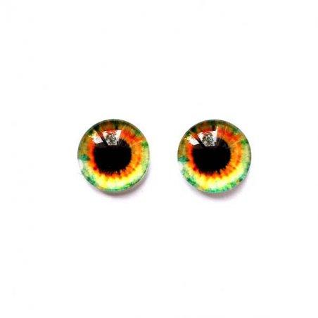 Глазки стеклянные для кукол №77154 (пара), 8 мм, цвет оранжево-лаймовый
