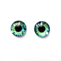 Глазки стеклянные для кукол №77168 (пара), 14 мм, цвет мятно-синие