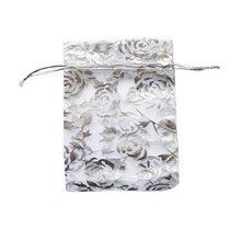 """Подарочный мешочек из органзы """"Розы"""" 12х8 см, цвет- серебристый"""