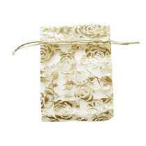 """Подарочный мешочек из органзы """"Розы"""" 12х8 см, цвет- золотистый"""