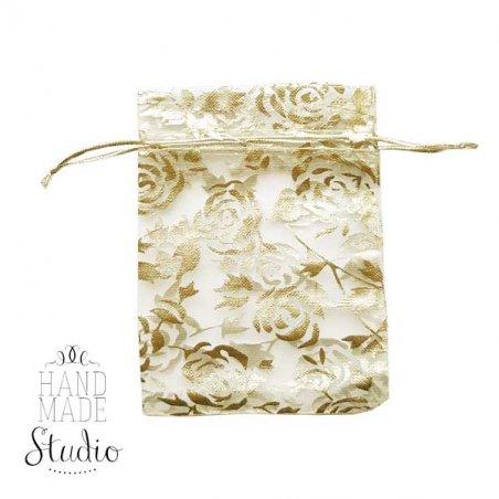 """Подарочный мешочек из органзы """"Цветы"""" 12х8 см, цвет- золотистый"""