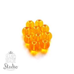 Бусины стеклянные оранжевые прозрачные, 6 мм, №48, 10 шт