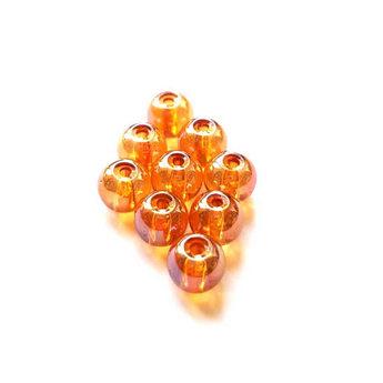 Бусины стеклянные оранжевые (хамелеон), 6 мм, №50, 10 шт