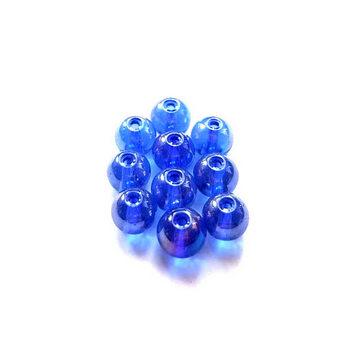 Бусины стеклянные синие (хамелеон), 6 мм, №51, 10 шт