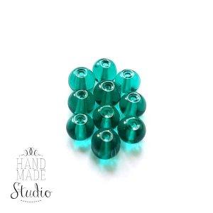 Бусины стеклянные бирюзово-зеленые, 6 мм, №54, 10 шт