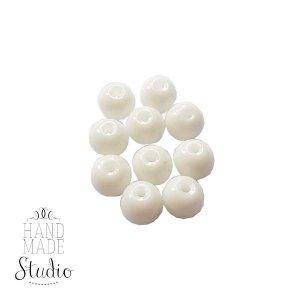Бусины стеклянные белые непрозрачные, 6 мм, №43, 10 шт