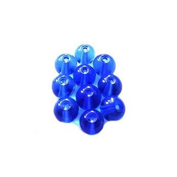 Бусины стеклянные синие прозрачные, 6 мм, №53, 10 шт