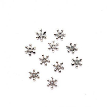 №47 Разделители для бусин снежинки 8 мм, цвет - сталь, 5 шт