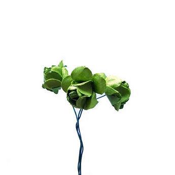 Маленькие бумажные розочки, 1,5 см, цвет зеленый, 3 штуки