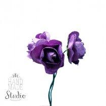 Маленькие бумажные розочки, 1,5 см, цвет фиолетовый, 3 штуки