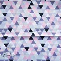 "Отрез ткани ""Треугольники"" серо-розовые, 40х50 см"