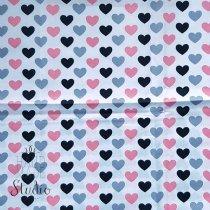 "Отрез ткани ""Сердечки"" черно-розовые, 40х50 см"