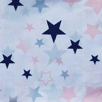 "Отрез хлопковой ткани ""Звездопад розовый"" на белом, 40х50 см"