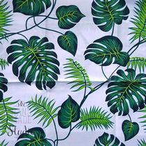 """Отрез бязи """"Пальмовые листья """" на белом, 40х50 см"""
