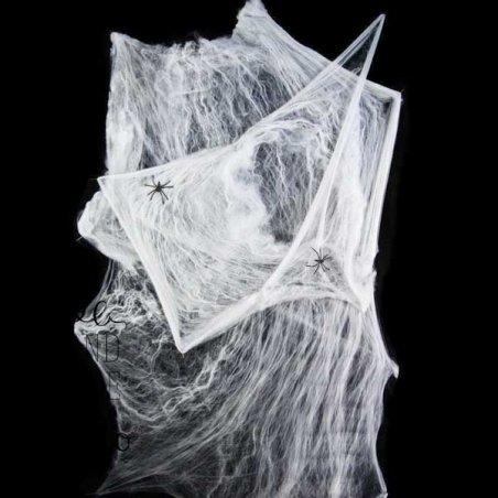Паутина декоративная белая с пауками