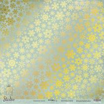 Лист односторонней бумаги с золотым тиснением 30x30 Снежинки золото Nordic Spirits, 190г/м2, 1 лист