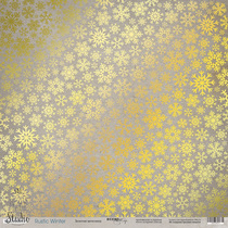 Лист односторонней бумаги с золотым тиснением 30x30 Золотая метелица Rustic Winter, 190г/м2, 1 лист