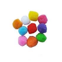 Текстильные мохнатые бусины- помпоны, цвет микс 1,5 см 10 шт.