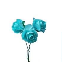 Маленькие бумажные розочки, 1,5 см, цвет Тиффани, 3 штуки
