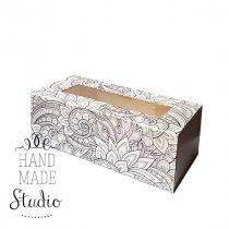 Коробочка для упаковки подарка, цвет черно-белый (абстакция)