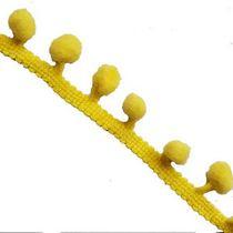 Тесьма с помпонами d-1см, цвет желтый, 1м