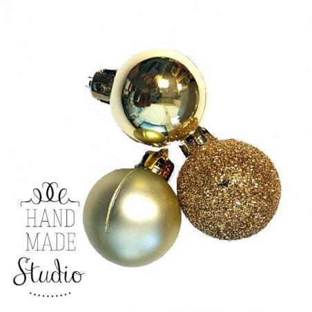 """Новогодняя игрушка """"Мини-шарик"""" в ассортименте 1 шт, цвет золото , d 3см"""