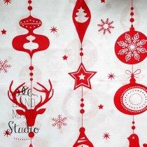 """Отрез бязи """"Новогодние гирлянды"""" красные на белом, 40х50 см"""