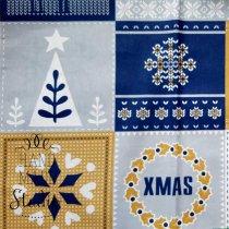 """Отрез бязи """"Рождество"""" горчично-синяя, 40х50 см"""
