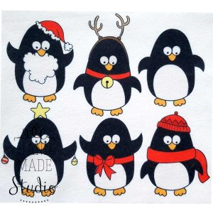 "Фетр мягкий с рисунком 1,2мм ""Новогодние пингвины"" 22х19см"