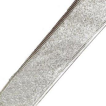 Лента металлизированная на проволоке 3,8 см, цвет серебро