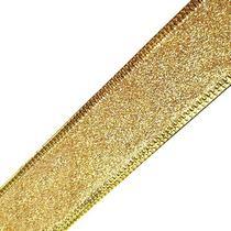 Лента металлизированная на проволоке 3,8 см, цвет золото