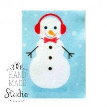 Фетровый Снеговик №3, 8х10,5 см
