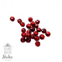 Бусины чешский хрусталь 8 мм, цвет красный с фольгированным бочком №160, 10 шт