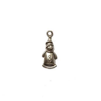 Серебряная металлическая подвеска Снеговик №2, 2,1х1 см