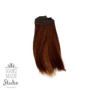 """Искусственные  прямые волосы на трессе """"Каре"""" (10 см) , цвет каштановый (3/28)"""