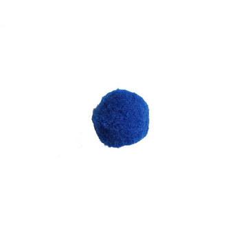 Текстильная мохнатая бусина-помпон, цвет - синий, 4см